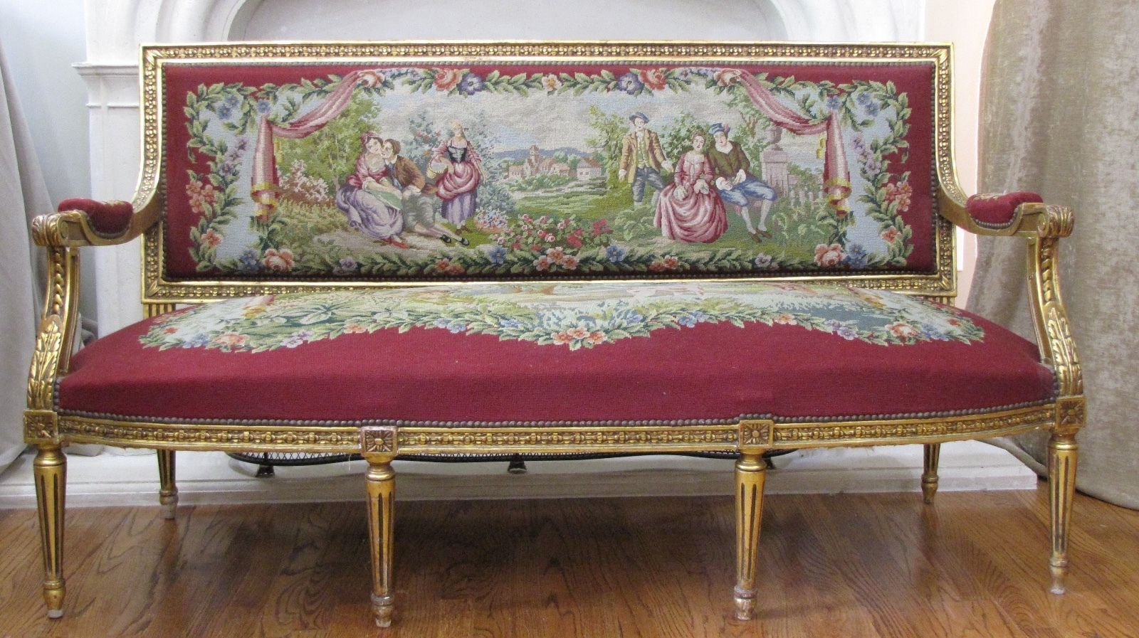 French Louis XV Settee Sofa Hand Carved Gold Gilt Frame & Aubusson ...