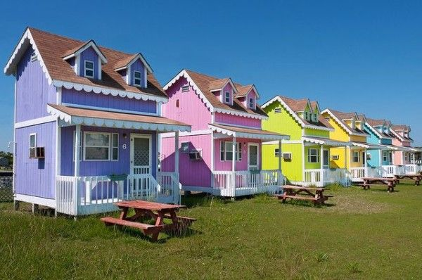Community of Tiny Colorful Cottages in Hatteras, North