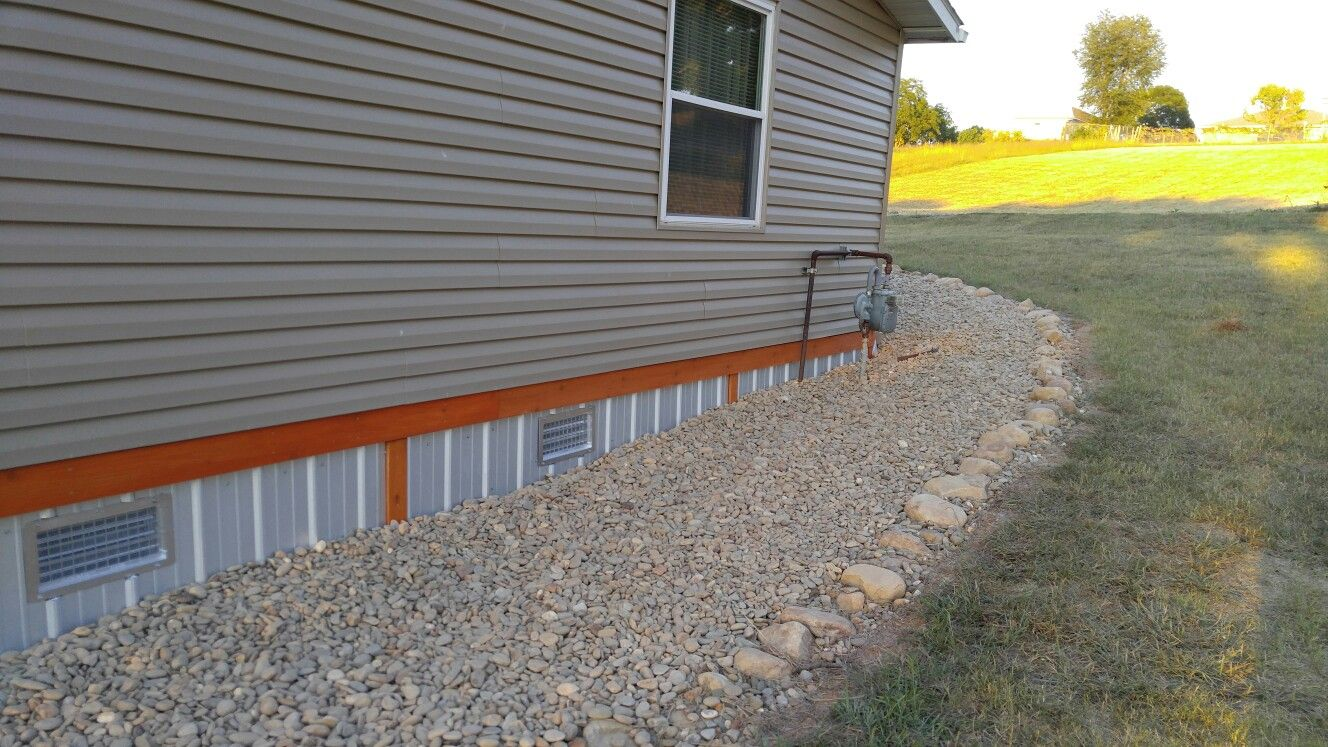 Galvalume Tin Roofing Double Wide Skirting With Cedar Trim On Our House Mobile Home Skirting Porch Remodel Remodeling Mobile Homes
