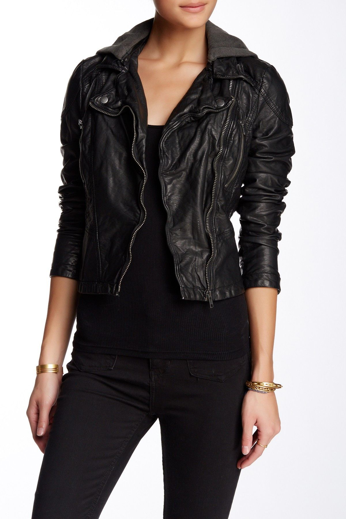 Free People Hooded Faux Leather Moto Jacket Fall