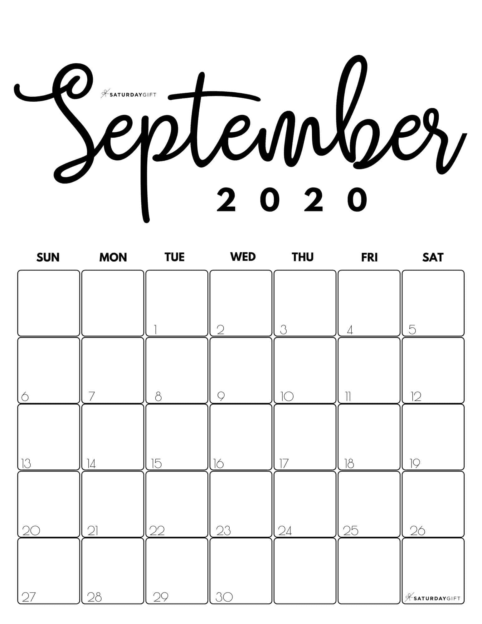 Cute Free Printable September 2020 Calendar Saturdaygift In 2020 September Calendar Calendar Printables Free Printable Calendar