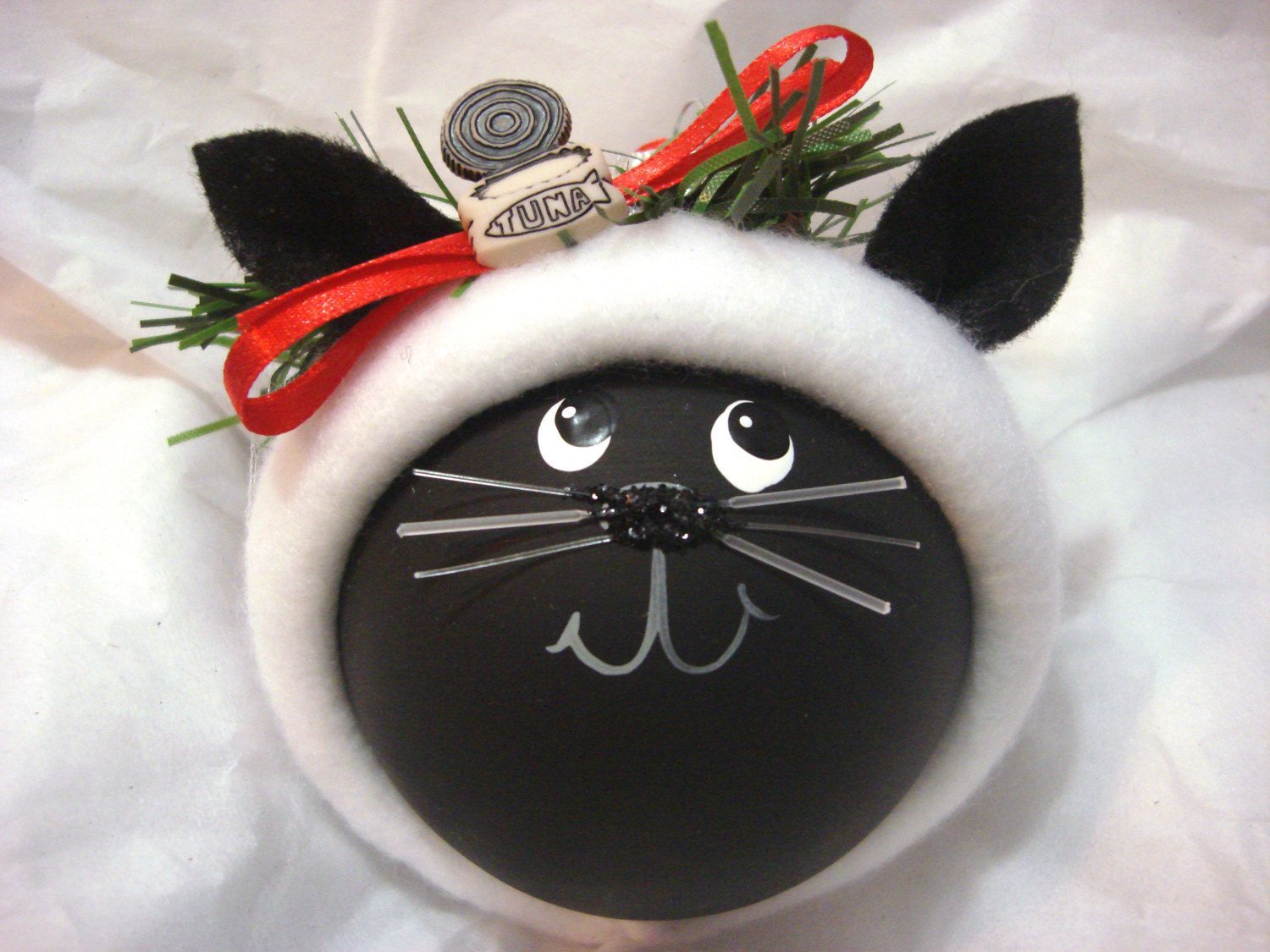 Black Cat Ornament Tuna Can Christmas Pint от