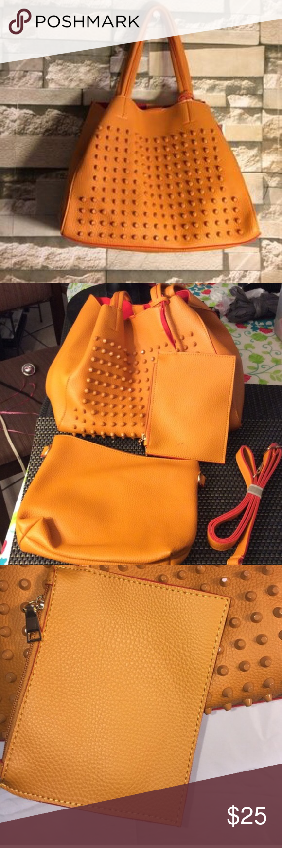 3-Piece Orange Studded Tote Brand New and so cute!! This ALFA bag comes with three pieces (a wallet and small clutch) and is in Fashion-forward Orange. Nordstrom Bags Totes