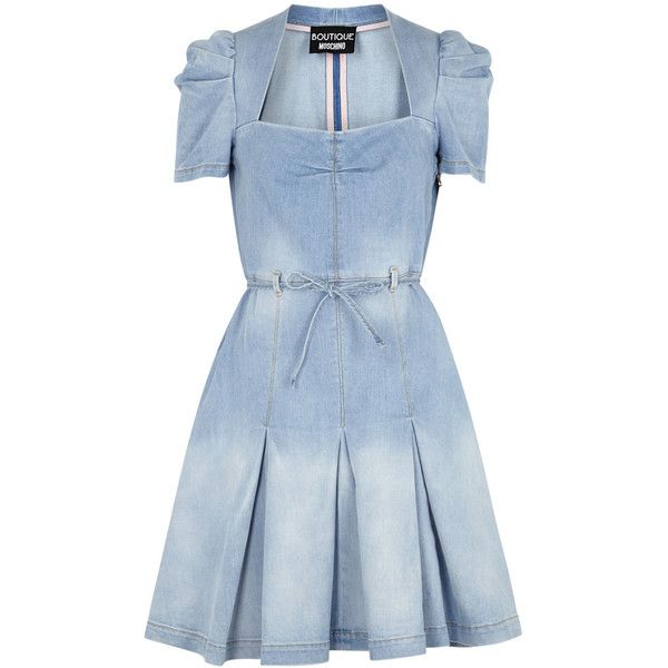 fbc6d632341e33 Boutique Moschino Light Blue Pleated Denim Dress (£445) ❤ liked on Polyvore  featuring dresses