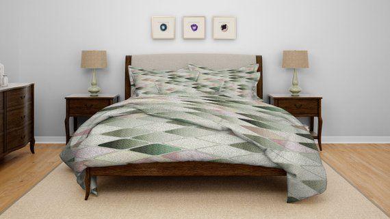 Bedding, Diamond Pattern Comforter or Duvet Cover Pastel Green
