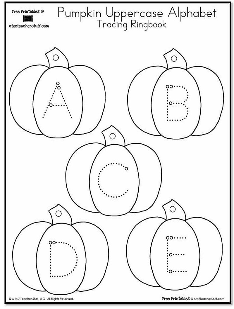pumpkin lowercase and uppercase tracing alphabet a to z teacher