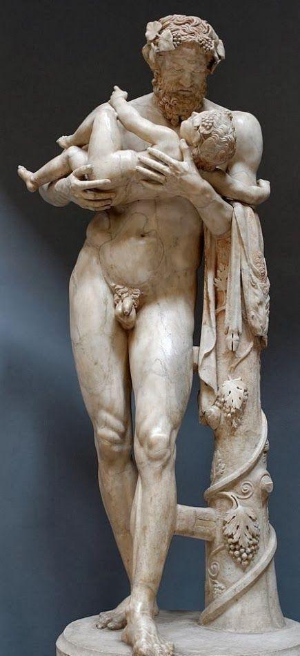 Silenus With Infant Dionysus Bacchus Roman Statue Copy