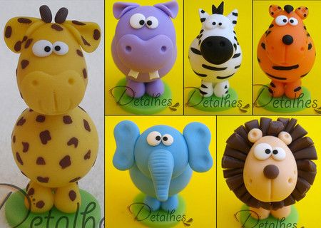 Bichos Safari Detalhes Arte Em Biscuit Com Imagens Biscuit