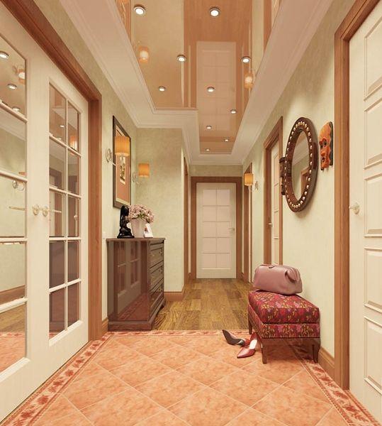 Стильный терракотовый коридор 11 кв. м. в трехкомнатной ...