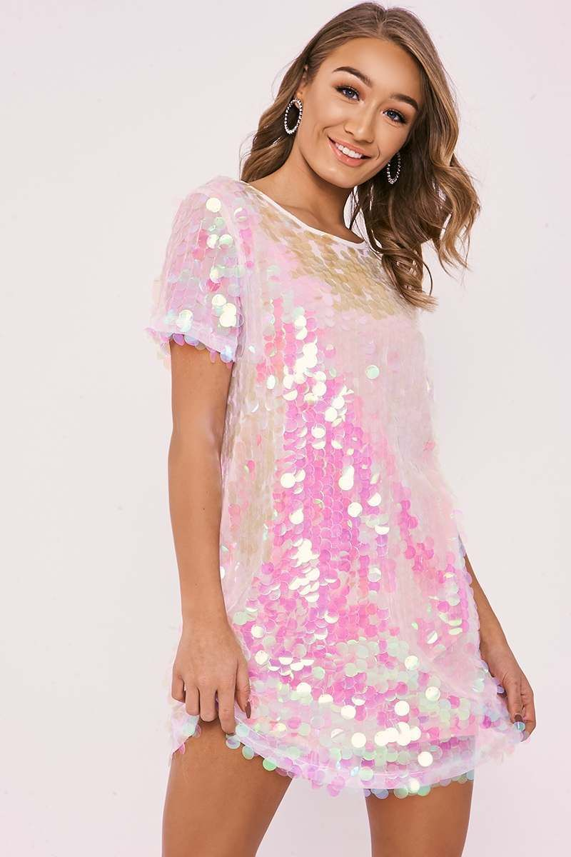 20a8af1079055 Darcell White Iridescent Sequin T Shirt Dress. Next day delivery available  until 10pm. Order Now!