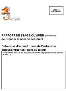rapport de stage ouvrier | Rapport de stage 3eme, Rapport ...