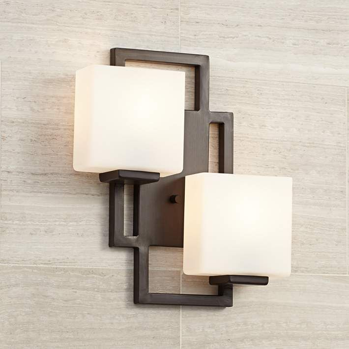 "Lighting On The Square Bronze 15 12"" H Led Wall Sconce  Sconces Unique Industrial Bathroom Light Fixtures Design Inspiration"