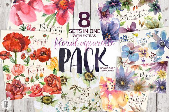 PACK: 8 sets of floral aquarelle by GrafikBoutique on Creative Market