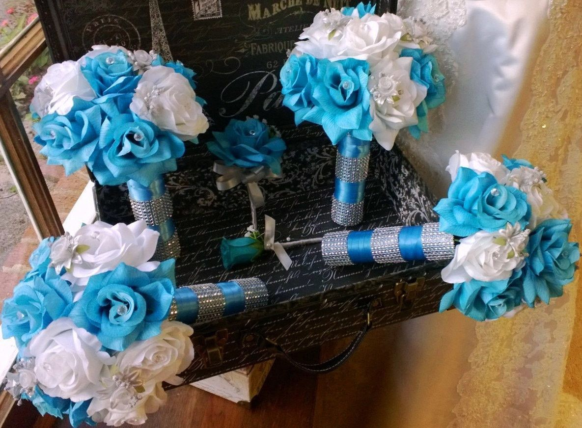 17 Piece Malibu Blue White Silver Wedding Flower Set Bridal Bouquet