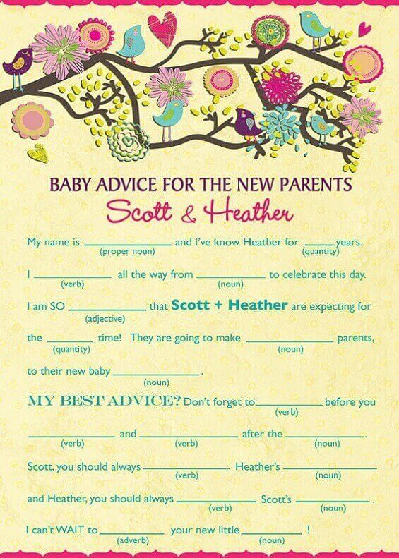 Baby Shower Mad Lib