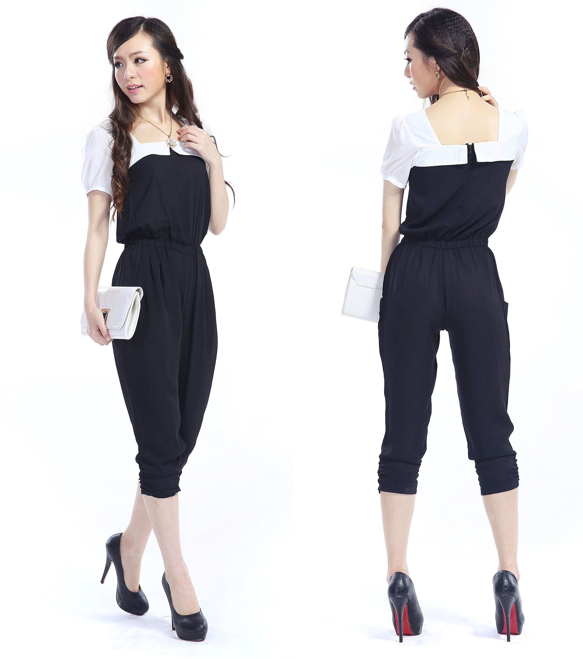 black and white fashion for women | waisted harem pants stitching ...