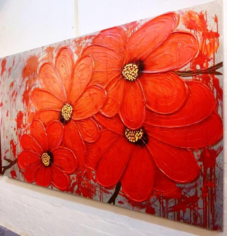 3 pieces of wall art not against modern abstract acrylic flowers ...