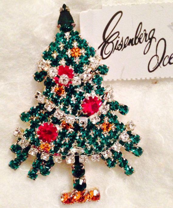 Jewelry Eisenberg Ice Christmas | Items similar to Signed Eisenberg Ice Vintage Red Green Crystal ...