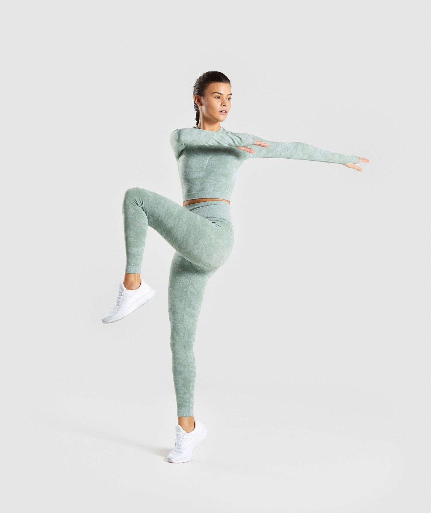 4eb48e5890206f Gymshark Camo Seamless Long Sleeve Crop Top - Sage Green | Gymshark ...