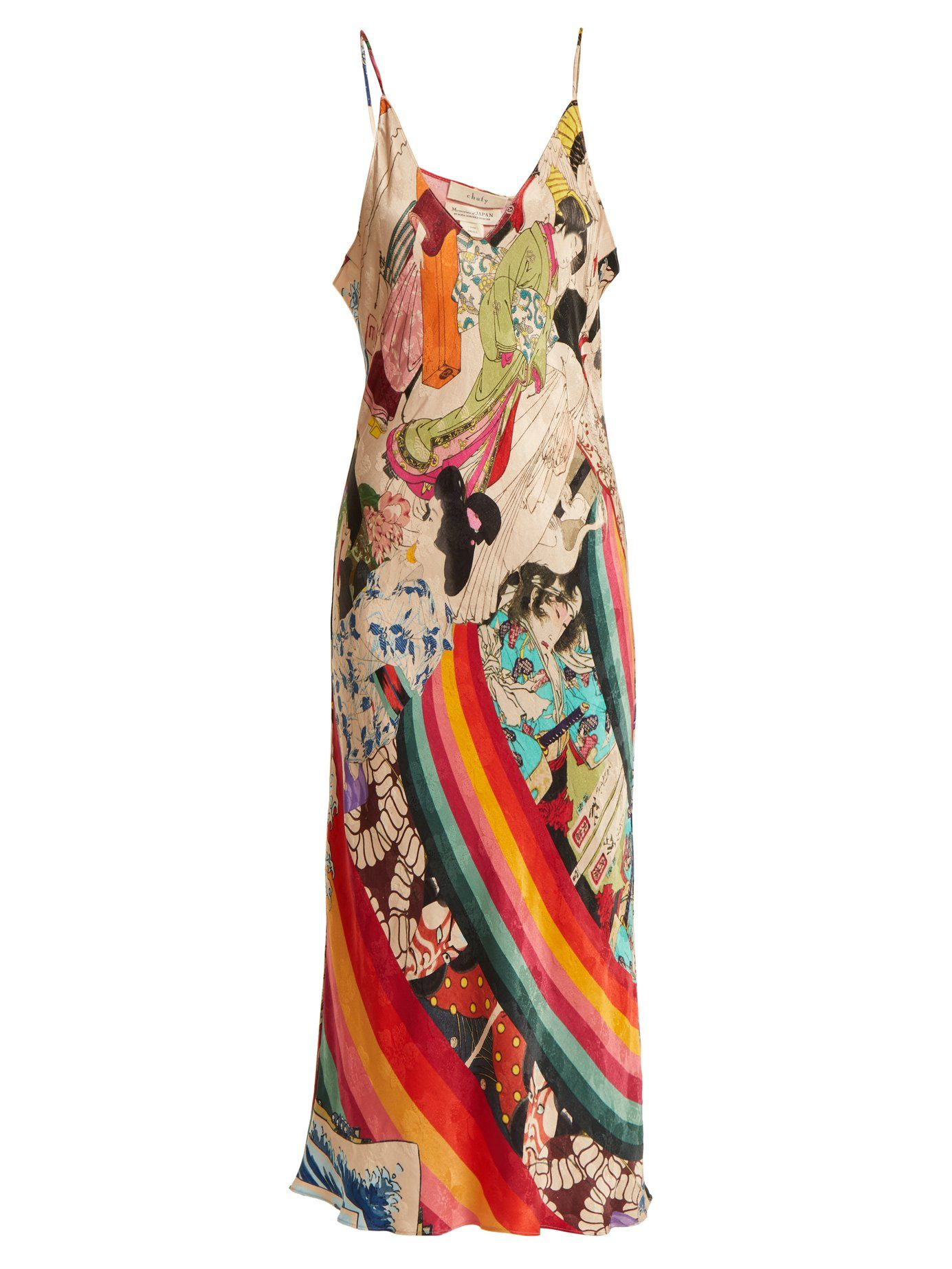 02f487648a0ad Trippin printed deep V-neck satin slip dress | Chufy | MATCHESFASHION.COM UK