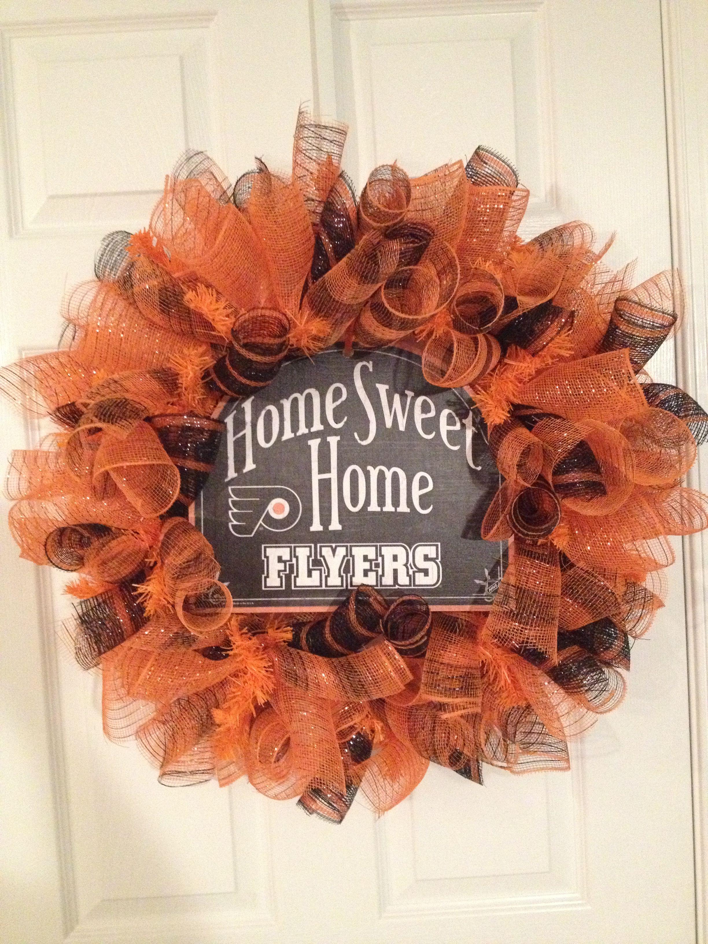 Philadelphia Flyers Deco Mesh Wreath Sports Wreaths Flyer Hockey Decor