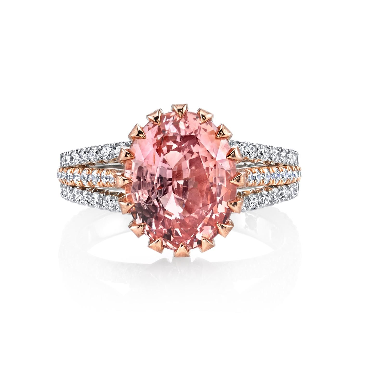 Padparadscha sapphire ring with diamonds | Pinterest | Ring ...