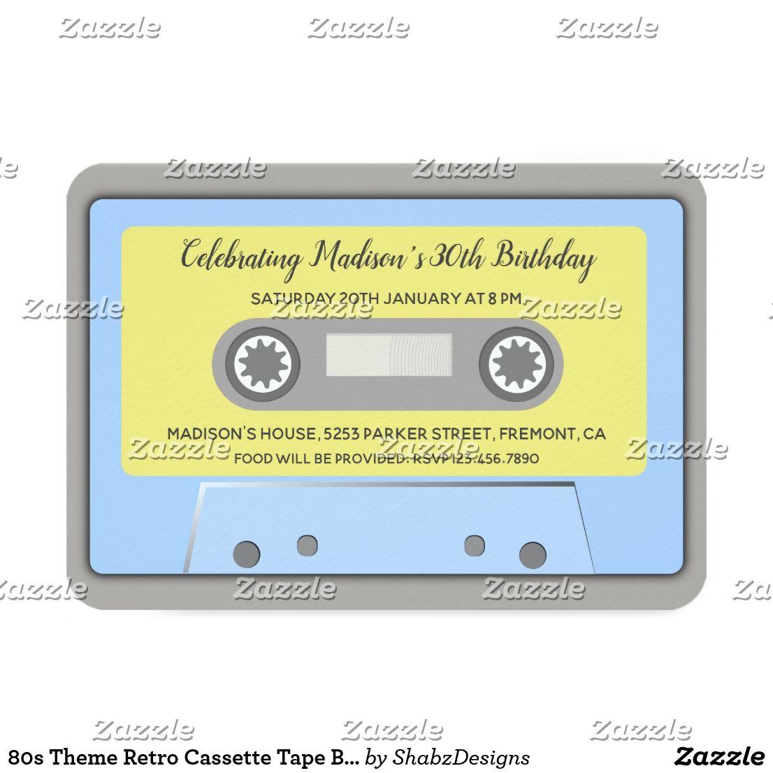 80s Theme Retro Cassette Tape Birthday Invitation Zazzle Com Retro Birthday Parties Bbq Baby Shower Invitations Invitation Template