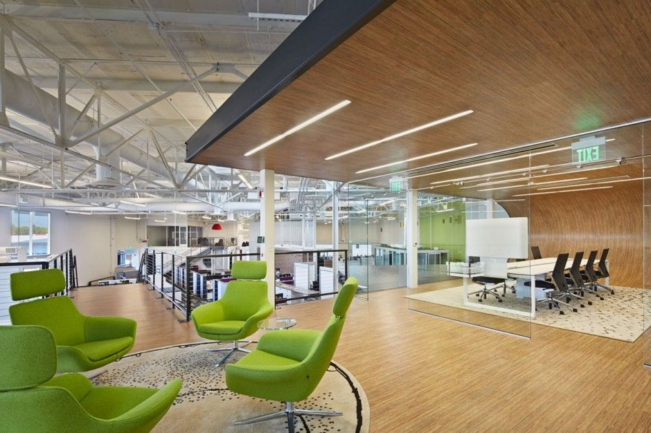 Casual Conferencing Outside A Boardroom #design #furniture #architecture    Green Bob Chairs By