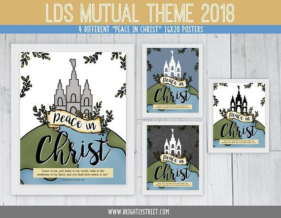 lds mutual theme 2018 peace in christ 16x20 posters 4 different