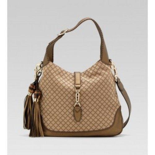 Gucci New Jackie diamante canvas shoulder beige/ebony Sale (With images)   Gucci bags outlet. Shoulder bag. Bags
