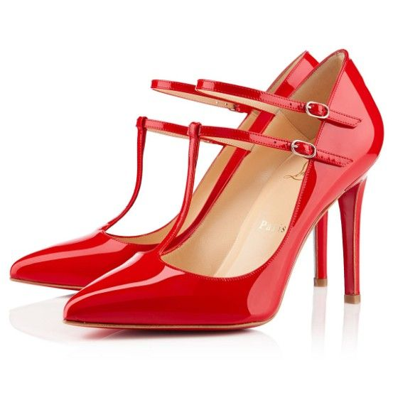 red christian louboutin v neck pumps 100mm patent leather rh pinterest com