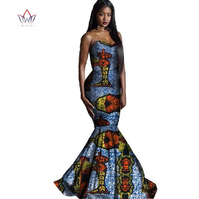 312d1a99ee904 Africa Style Clothing Wedding Africa Wax Print Long Mermaid Dress Plus –  Owame