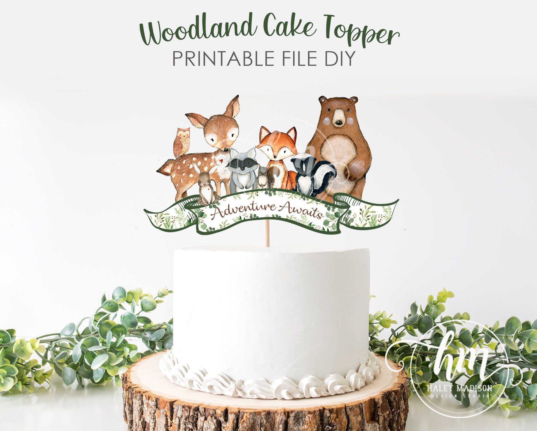 PRINTABLE Adventure Awaits Woodland Cake Topper Woodland