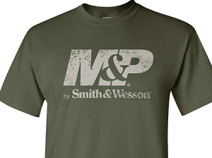 M by Smith & Wesson Men's Distressed Logo Military Green T-Shirt