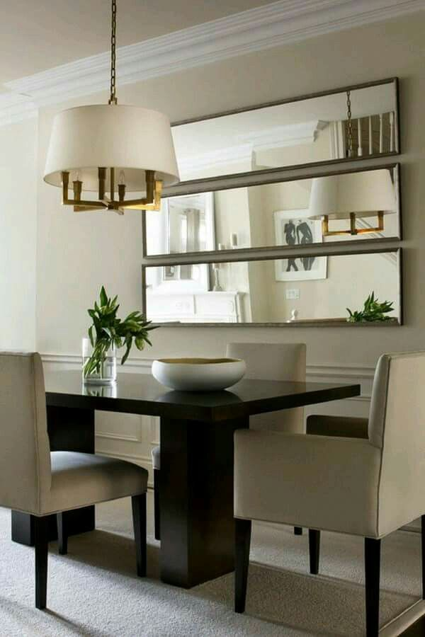 Mirrors Espresso Table Gray Chairs