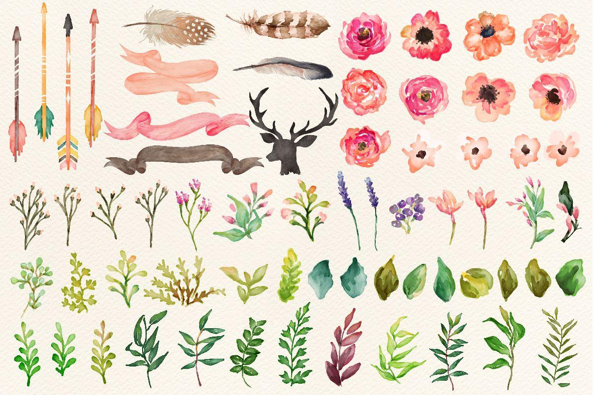 Watercolor Flower Diy Pack Vol 2 Watercolor Graphic Watercolor