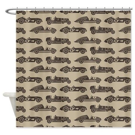 Vintage Old Fashioned Race Cars Shower Curtain On CafePress