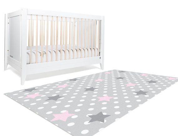 Star Rug Moon And Stars Nursery Pink Grey Polka Dots Gray Decor Kids Baby