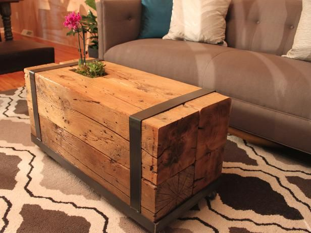 Salvaged timbers are stacked and bundled together to create an uber-sturdy coffee table.