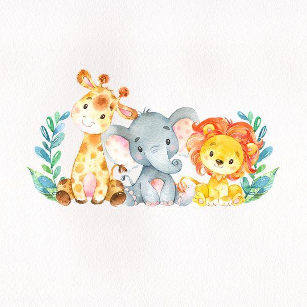 Watercolor Safari Animals Baby Shower Sticker Zazzle Com Animais De Aquarela Decoracao Safari Festa Infantil Arte Bebe