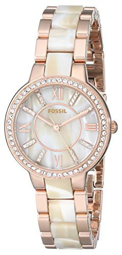 a6e127c00ff6 Fossil Womens ES3716 Virginia ThreeHand Stainless Steel Watch in Rose Gold  Tone with Horn Acetate