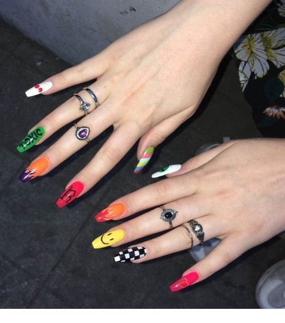 Multi Color Nail Art Ladystyle Grunge Nails Edgy Nails Swag Nails