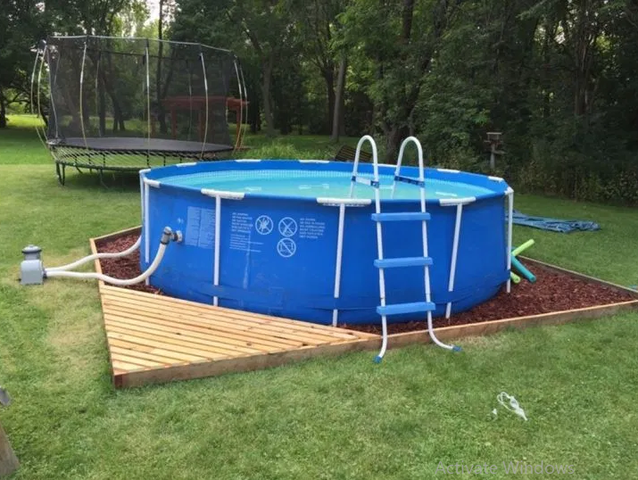 If You Think About Creating A Swimming Pool For A Playground For The Son Or Daughter Then A Lit Plastic Swimming Pool Swimming Pool Decks Small Swimming Pools