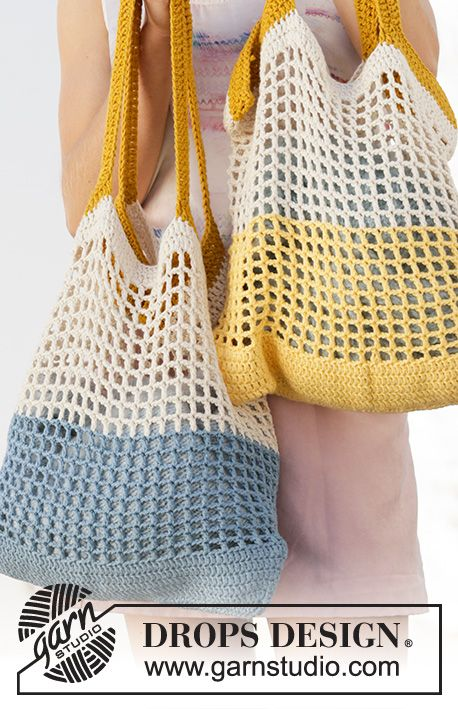 200-1 Back to the Beach - free crochet bag pattern with chart by DROPS design #filetcrochet
