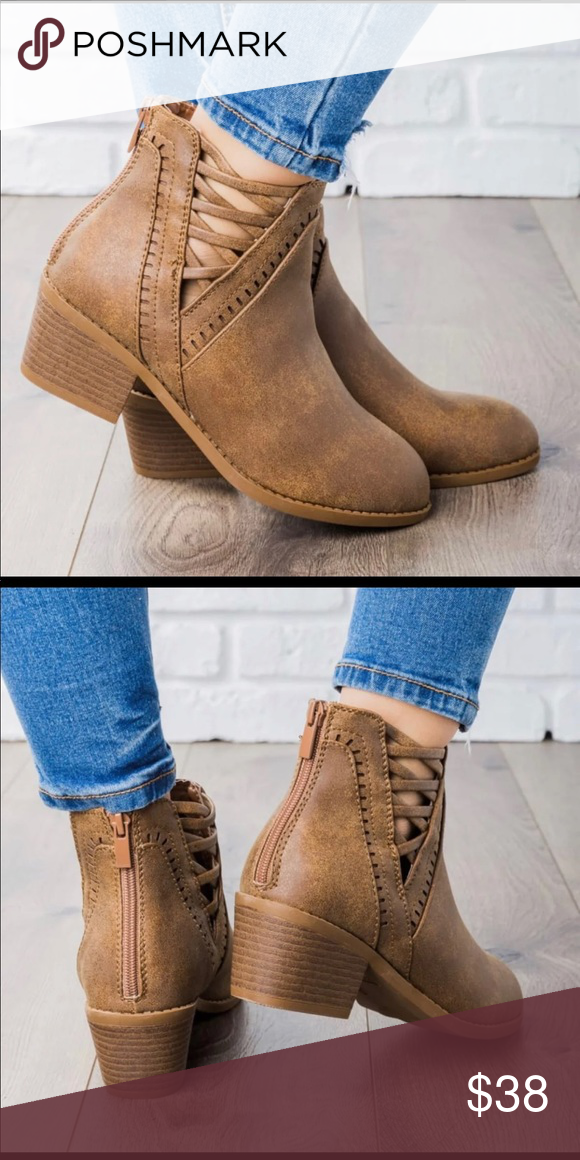 af6a061a6ea Tan criss cross v cut booties Soft faux leather Zipper enclosure in the  back Shoes Ankle