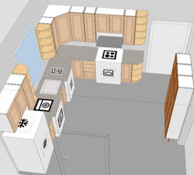 Very Small Kitchen Layout Design No Door Further Wall Opening