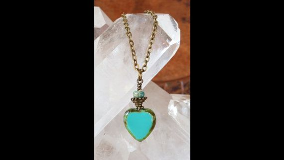 turquoise heart necklace Czech glass by TurquoiseStarJewelry