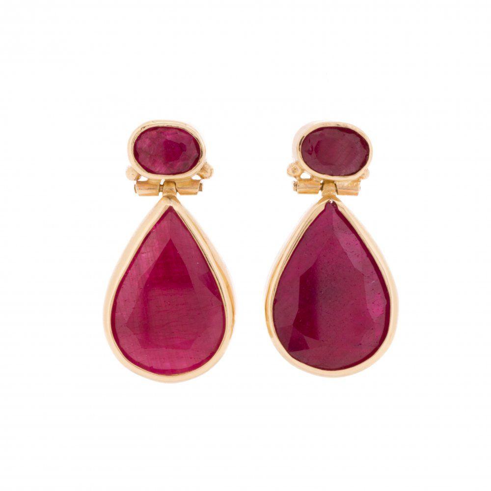 Pear Shaped Ruby Drop Earrings From Lila S Jewels Uk