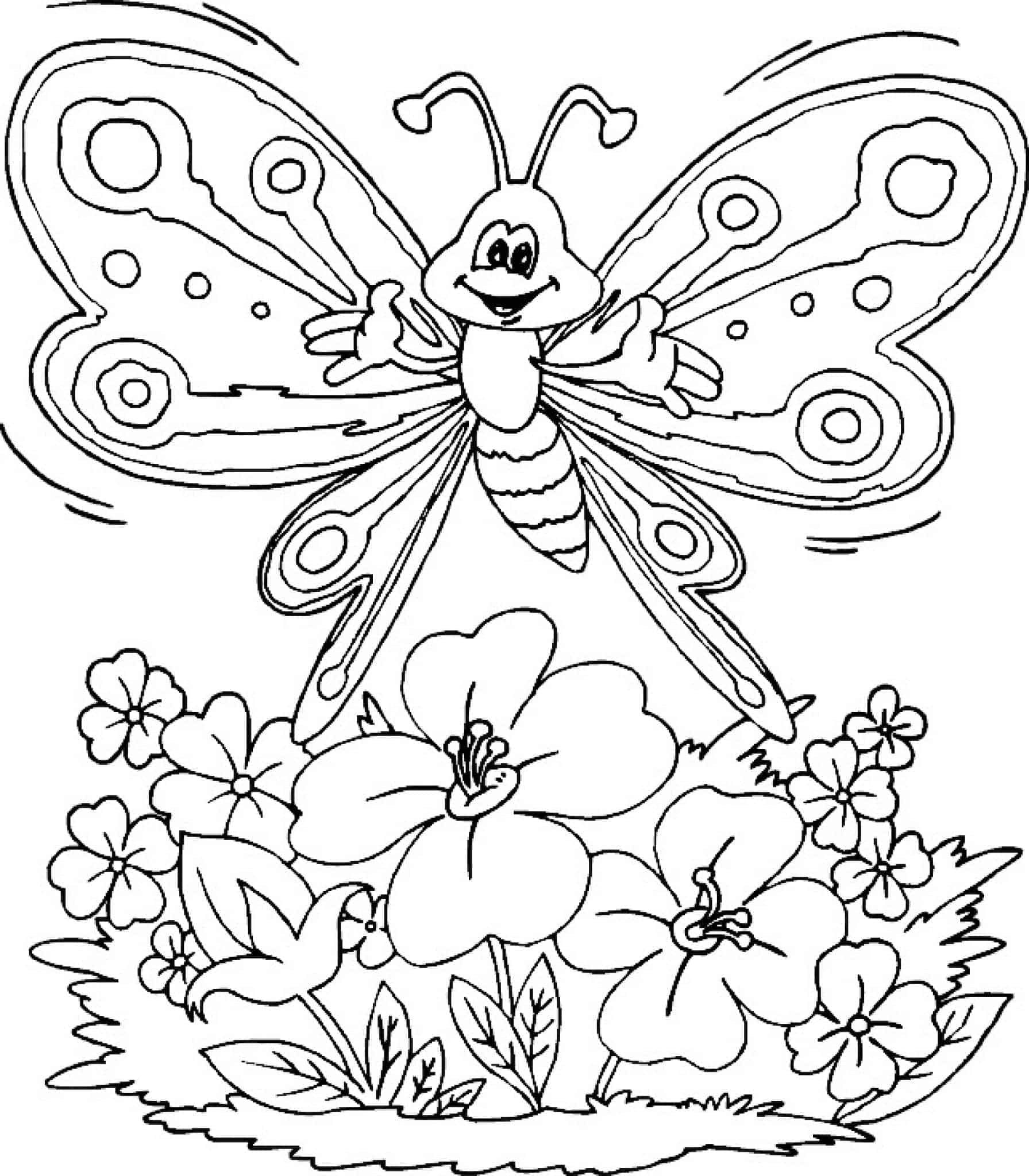 Flower And Butterfly Coloring Pages Butterfly Coloring Page Spring Coloring Pages Flower Coloring Pages