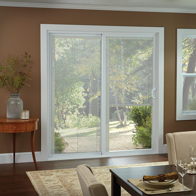 Window treatments for sliding glass doors ideas tips for Windows with built in shades